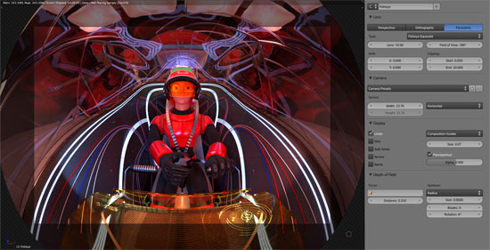 Equisolid fisheye, 3d viewport preview. Image by Pataz Studio - www.patazstudio.com